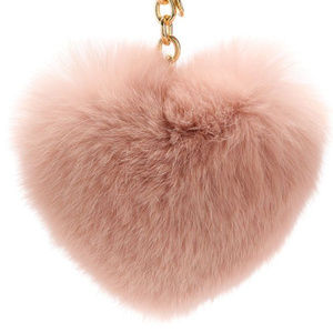 Michael Kors Heart Rabbit Fur Pom-Pom Key Fob